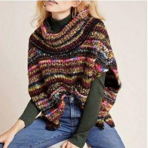 NWT Anthro Piera Colorful Knit Poncho XS/Small